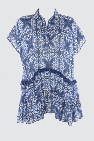 Trendyol MultiColored Frilled Shirt Collar Dress dámské L
