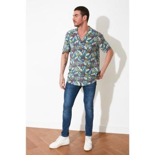 Trendyol Multicolored Mens Regular Fit Apaş Collar Short Sleeve Shirt pánské S