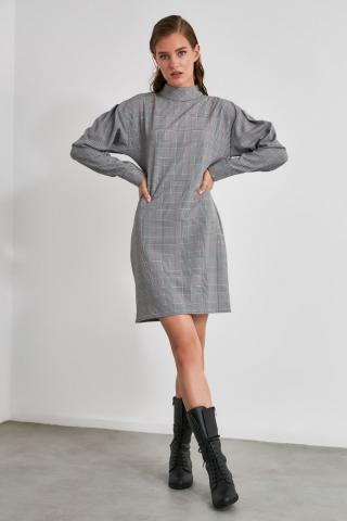 Trendyol MultiColored Upright Neck Line Plaid Dress dámské 34