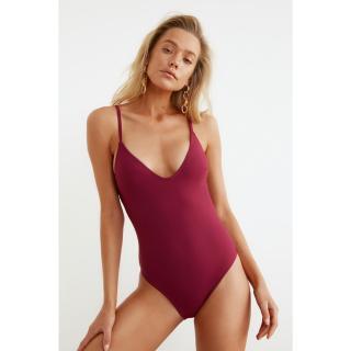 Trendyol My Elder V-Neck Swimsuit dámské Plum 34