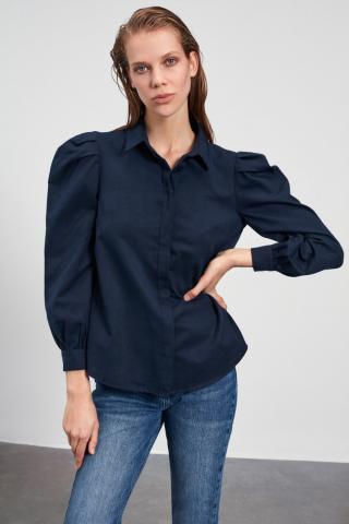 Trendyol Navy Balloon Sleeve Shirt dámské 34