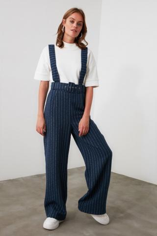 Trendyol Navy Belt Straps Striped Jumpsuit dámské 34
