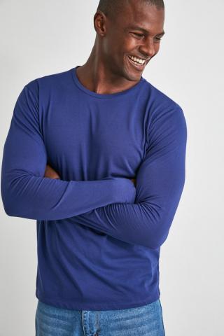 Trendyol Navy Bike Collar Long Sleeve Basic T-Shirt pánské S
