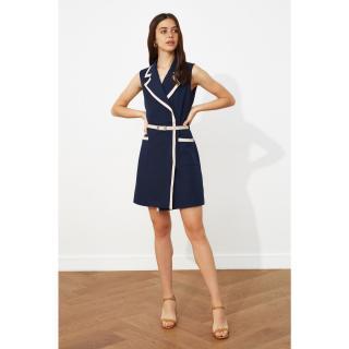 Trendyol Navy Blue Belt Jacket Dress dámské 34