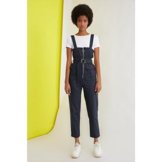Trendyol Navy Blue Belt Zip DetailEd Jumpsuit dámské 34