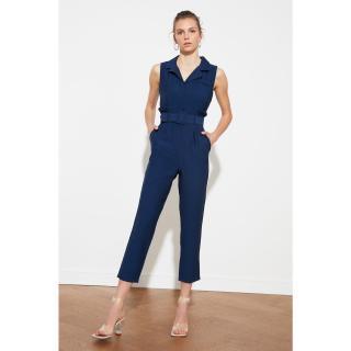 Trendyol Navy Blue BeltEd Jumpsuit dámské 34