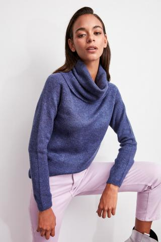 Trendyol Navy Blue Collar Knitwear Sweater dámské M