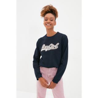 Trendyol Navy Blue Embroidered Knitted Sweatshirt dámské Other XL