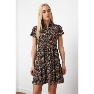 Trendyol Navy Blue Floral Knitted Dress dámské XS