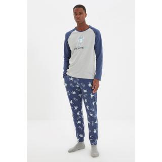 Trendyol Navy Blue-Grey Men Regular Fit Crew Neck Pajamas Set pánské Other S