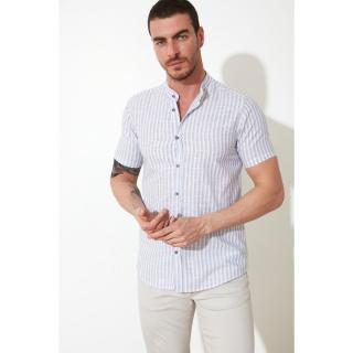 Trendyol Navy Blue Male Slim Fit ButtonEd Judge Collar Short Sleeve Shirt S