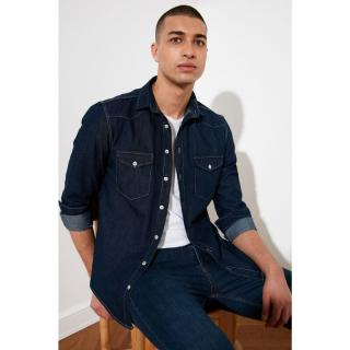Trendyol Navy Blue Male Western Slim Fit Denim Shirt S