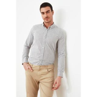 Trendyol Navy Blue Men Slim Fit Long Sleeve Epaulette ButtonEd Collar Shirt pánské S