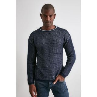 Trendyol Navy Blue Mens Bike Collar Textured Knitwear Sweater pánské S