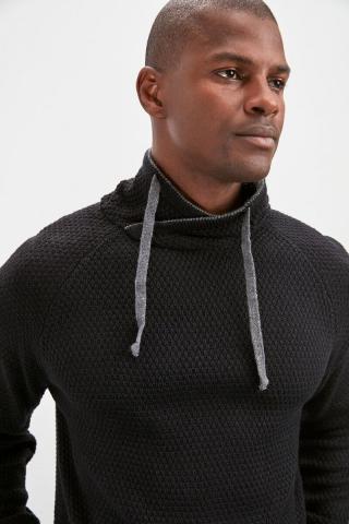 Trendyol Navy Blue Mens Degaje Collar Sweater pánské L