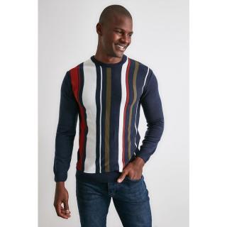 Trendyol Navy Blue Mens Line PanelEd Bicycle Collar Knitwear Sweater pánské S