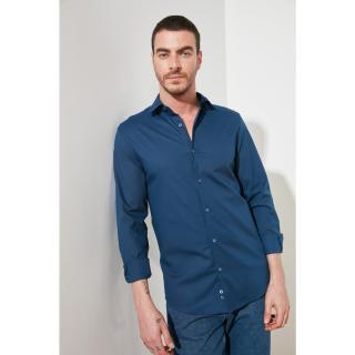 Trendyol Navy Blue Mens Lycra Slim Fit Basic Shirt Collar Shirt pánské S