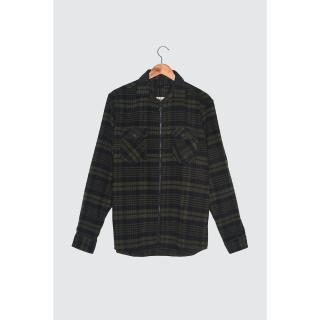 Trendyol Navy Blue Mens Plaid 2 Pocket Regular Shirt pánské S