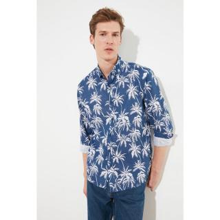 Trendyol Navy Blue Mens Regular Fit Buttoned Collar Shirt pánské S