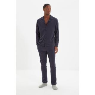 Trendyol Navy Blue Mens Regular Fit Top Collar Pajamas Set pánské Other S