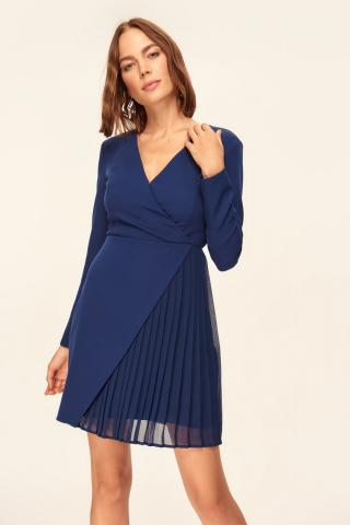 Trendyol Navy Blue Pilise Detailed Dress dámské 34