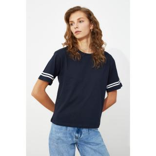 Trendyol Navy Blue Print knitted T-Shirt dámské XS