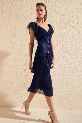 Trendyol Navy Blue Stone Button Detailed Dress dámské 42