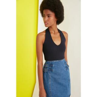 Trendyol Navy Blue Wick Crop Knitted Blouse dámské S