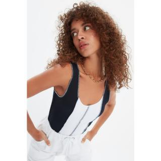 Trendyol Navy Color Block Knitted Blouse dámské S