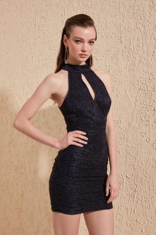 Trendyol Navy Drape Dress dámské 40