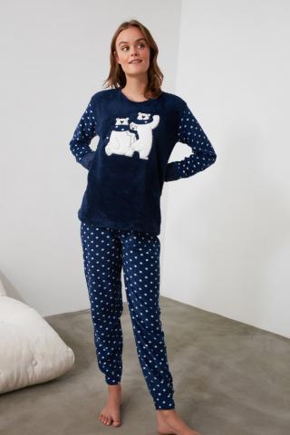 Trendyol Navy Embroidered Wellsoft Pajama Set dámské S