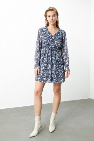 Trendyol Navy Flower Knitting Dress dámské XS