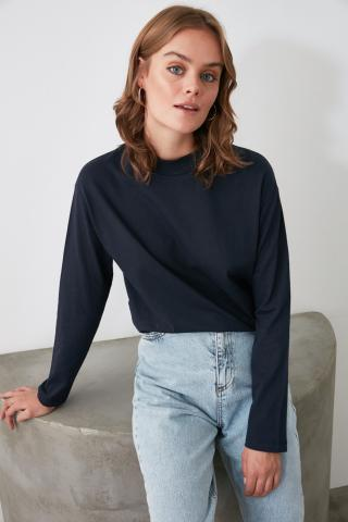 Trendyol Navy Long Sleeve Sheer Collar Knitted T-Shirt dámské XS