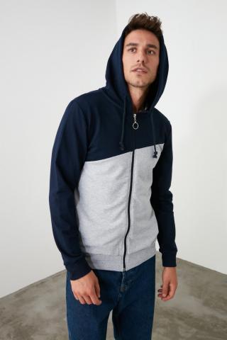 Trendyol Navy Mens Zipper PanelHood Sweatshirt pánské S