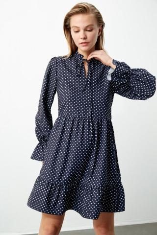 Trendyol Navy Polka Dot Detail Dress dámské 34