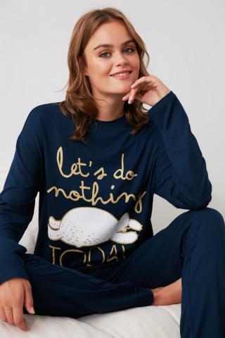 Trendyol Navy Printed Knitted Pajama Set dámské S