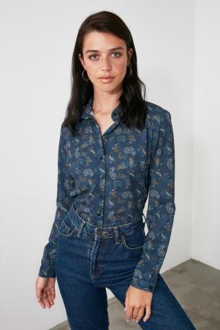 Trendyol Navy Printed Shirt dámské 34