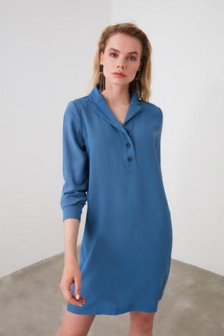 Trendyol Navy Shirt Collar Dress dámské 34