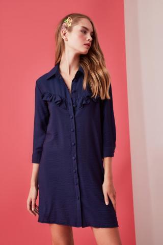 Trendyol Navy Shirt Dress dámské 34