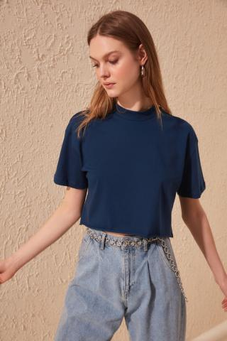 Trendyol Navy Upright Collar Crop Knitted T-Shirt dámské L