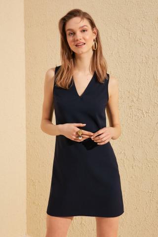 Trendyol Navy V Collar Basic Dress dámské 36