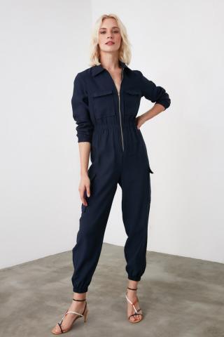 Trendyol Navy Zipper Detailed Jumpsuit dámské 34