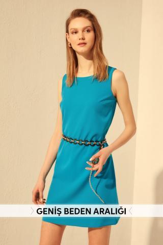 Trendyol Oil Basic Dress dámské Petrol 34