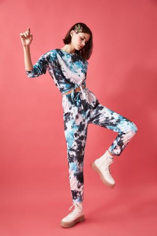 Trendyol Oil Batik Printed Knitted Tracksuit Set dámské Petrol S