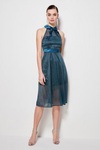 Trendyol Oil Collar Detailed Glow Dress dámské Petrol 42