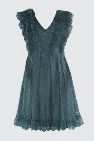 Trendyol Oil Frill Detailed Lace Dress dámské Petrol 36