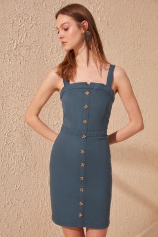 Trendyol Oil Gabardin Button Detailed Dress dámské Petrol 36
