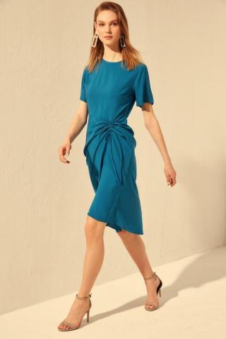 Trendyol Oil Ruffled Dress dámské Petrol 34