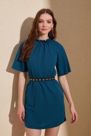 Trendyol Oil Side Ruffled Knitting Dress dámské Petrol S