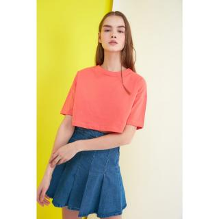 Trendyol Orange Crop Knitted T-Shirt dámské XS